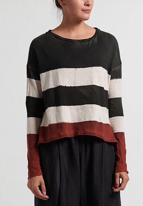 Gilda Midani Pattern Dyed Long Sleeve Trapeze Tee in Stripes Blended + Military + Port Red