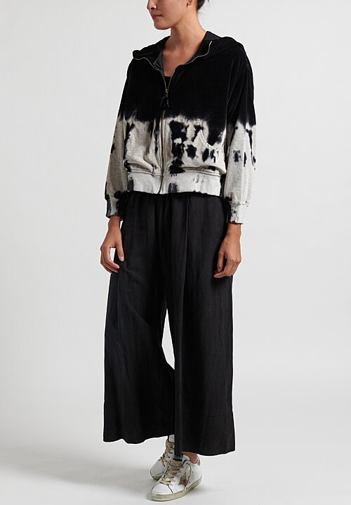 Gilda Midani Pattern Dyed Cropped Hoodie in Waterfall