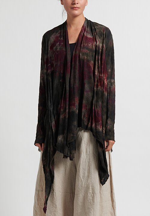Gilda Midani Cotton Lightweight Pattern Dyed Karan Cardigan in Night Garden