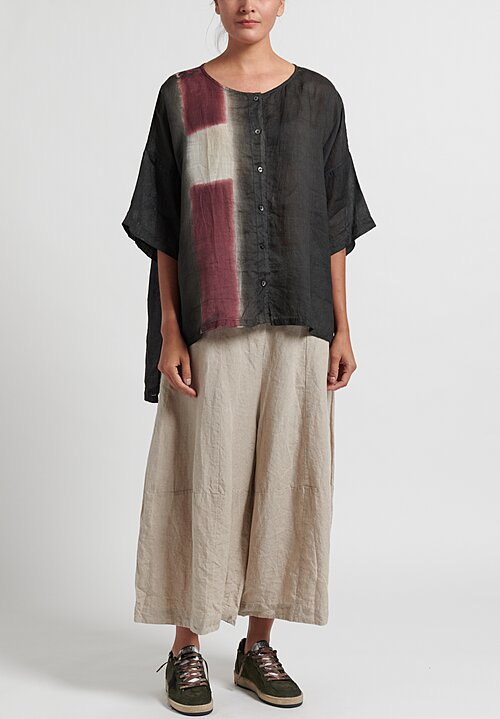 Gilda Midani Pattern Dyed Linen Button-Down Super Shirt in Maroon