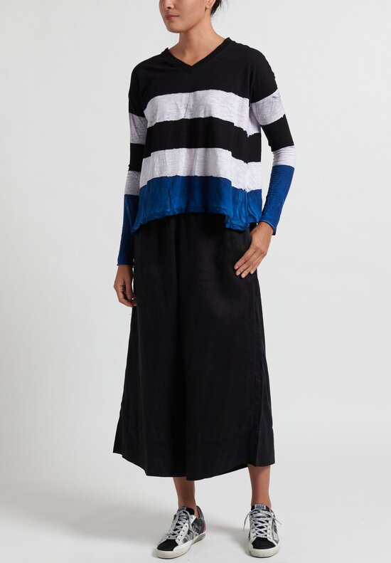 Gilda Midani Pattern Dyed Long Sleeve V-Neck Trapeze Tee in Stripes Black + Klein + White