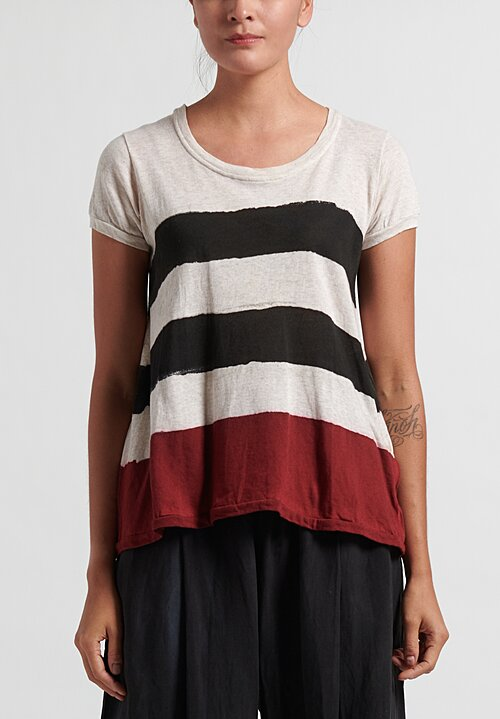 Gilda Midani Pattern Dyed Short Sleeve Monoprix Tee in Red