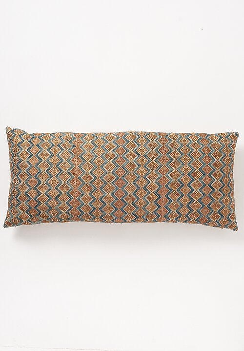 Shobhan Porter Large Hand-Embroidered Chinese Lumbar Pillow