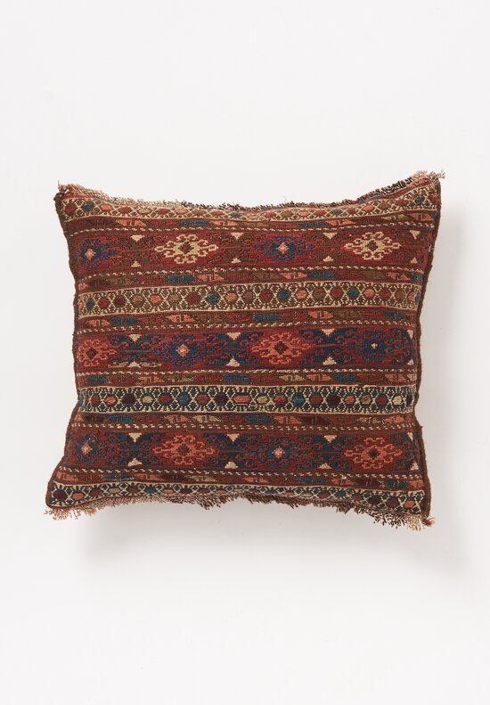 Antique and Vintage Shahsavan Kilim Pillow in Red Flower I