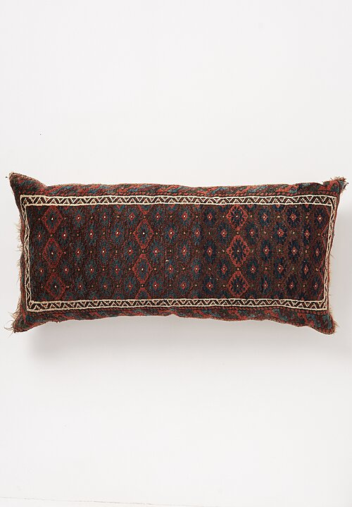 Antique and Vintage Hand-Knotted Balouch Balisch Lumbar Pillow in Indigo/Root