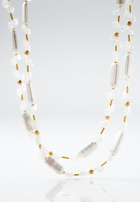 Greig Porter 18K Cultured Pearl & Moonstone Necklace