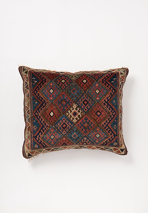 Shobhan Porter Large Vintage Multicolor Diamond Pillow Red/Blue 31 x 27in