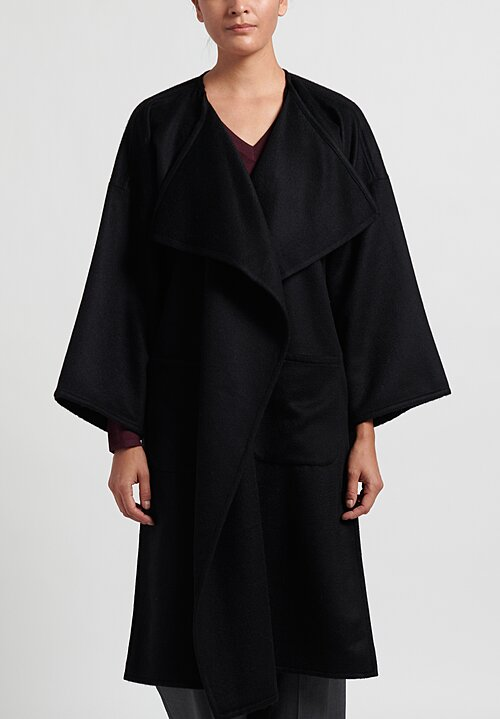 Alonpi Cashmere Open Front Coat in Black