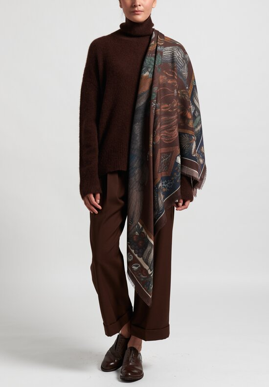 Sabina Savage Wool/Silk ''Neptune's Riches'' Scarf in Mahogany