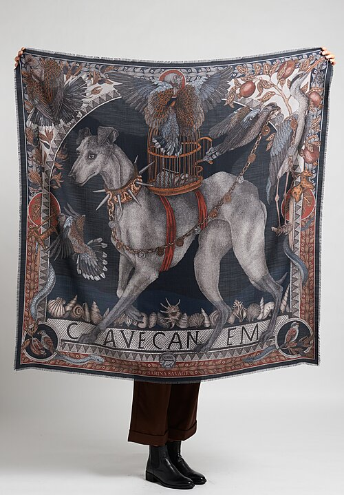 Sabina Savage Wool/Silk ''Cave Canem'' Scarf in Ink
