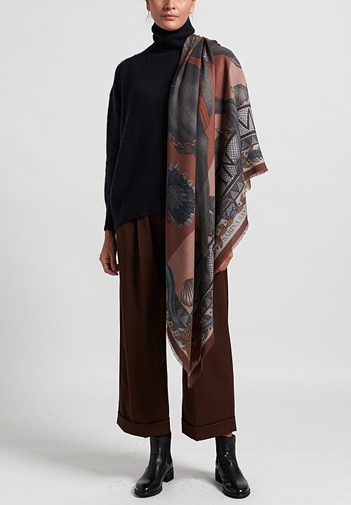 Sabina Savage Wool/Silk ''Cave Canem'' Scarf in Terracotta
