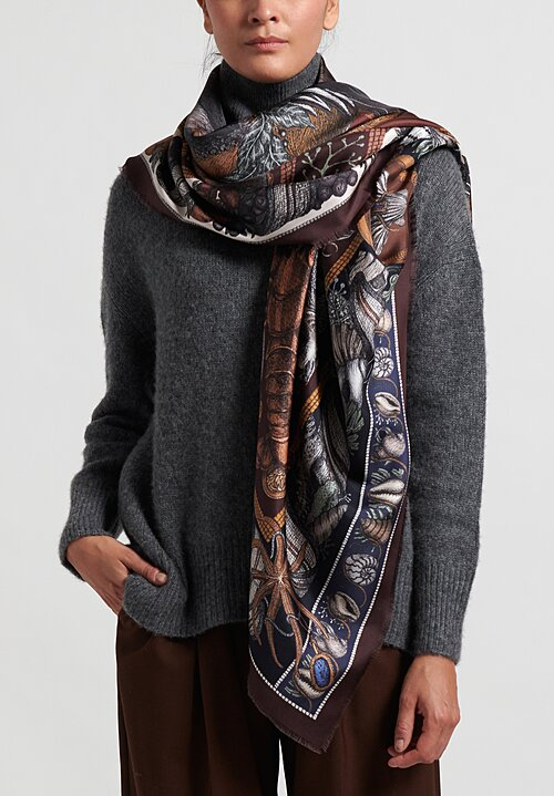 Sabina Savage Silk Twill ''Neptune's Riches'' Scarf in Mahogany