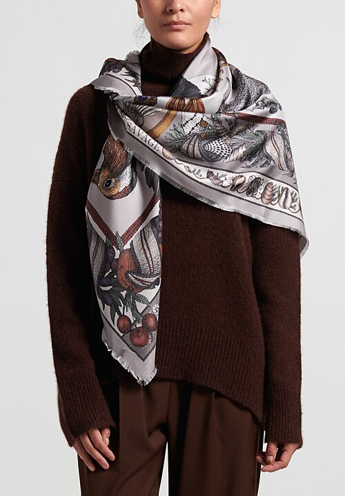 Sabina Savage Silk Twill ''Neptune's Riches'' Scarf in Granite
