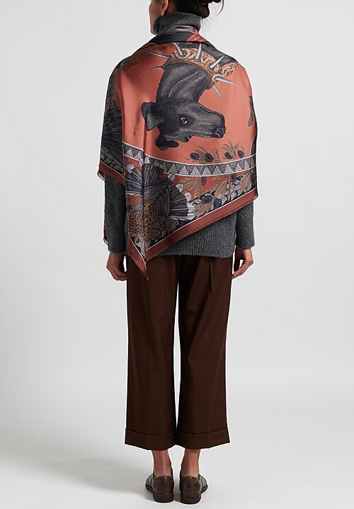 Sabina Savage Silk Twill ''Cave Canem'' Scarf in Terracotta