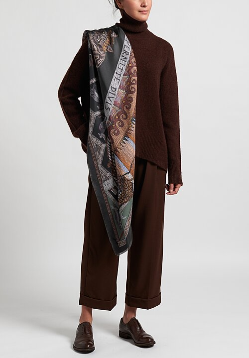 Sabina Savage Silk Twill ''Fortuna's Box'' Scarf in Olive
