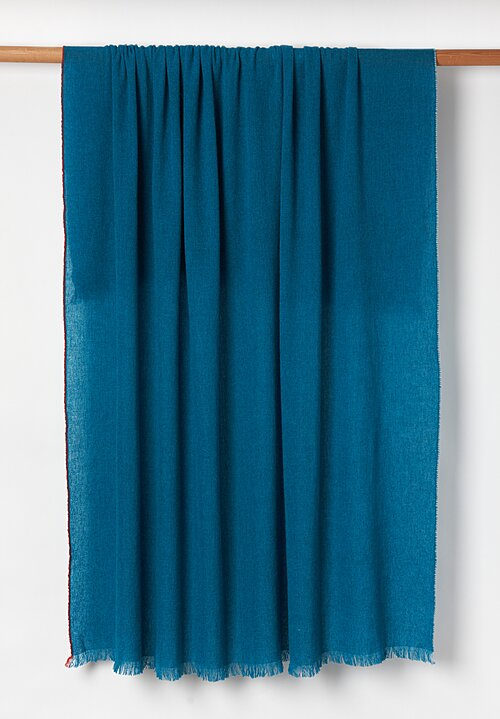 Teixidors Cashmere Handmade Jazz Throw in Dark Turquoise
