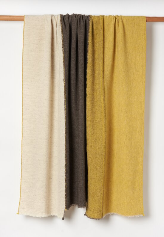 Teixidors Ecological Merino Wool / Yak Criss-Cross lll Throw in Dark Grey / Mustard