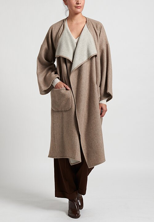 Alonpi Cashmere Open Front Coat in Natural