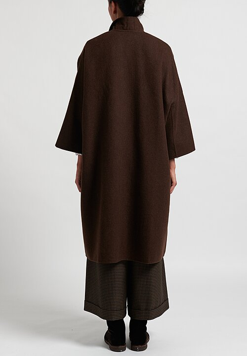 Daniela Gregis Cashmere Chicory Poppy Coat in Anthracite/Brown