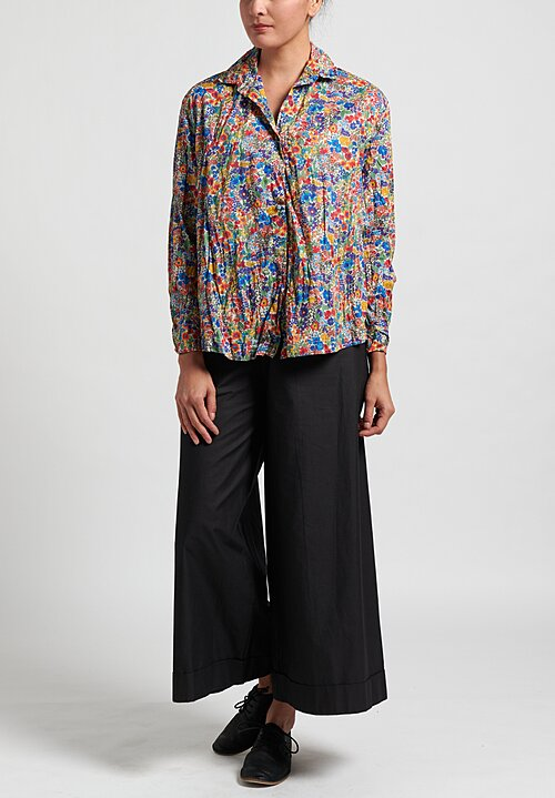 Daniela Gregis Cotton Washed Saline Print Kora Shirt in Electric Blue