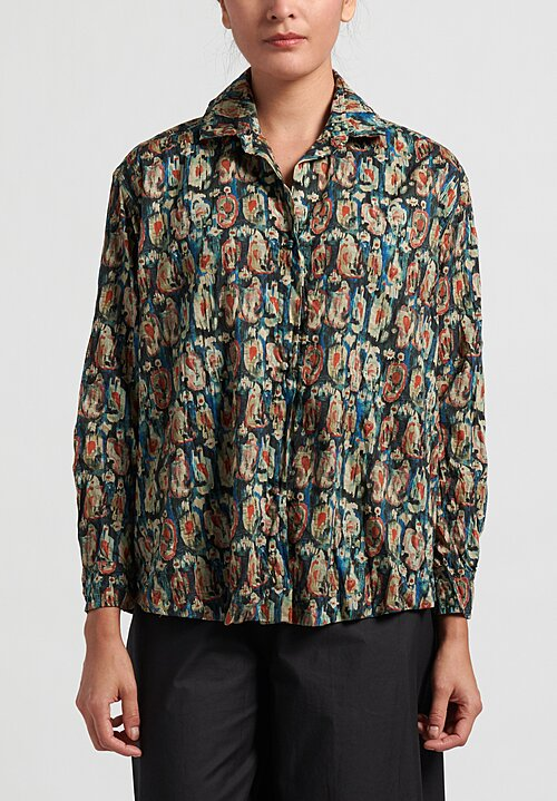Daniela Gregis Cotton Washed Saline Print Kora Shirt in Blue