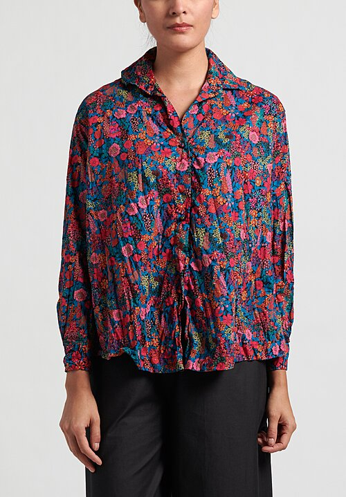 Daniela Gregis Cotton Washed Saline Kora Shirt in Fuscia and Red Flowers