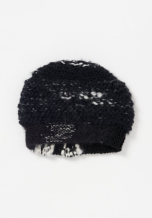Daniela Gregis Hand-Knitted Wool/Cotton Storm Hat Black/White