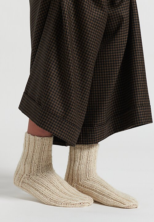 Daniela Gregis Hand-Knitted Long Alpaca Socks Cream