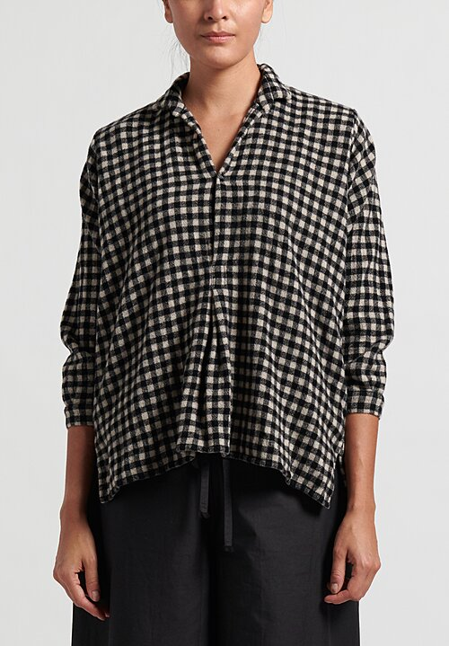 Daniela Gregis Washed Chicory Fratello Checkered Shirt in Black