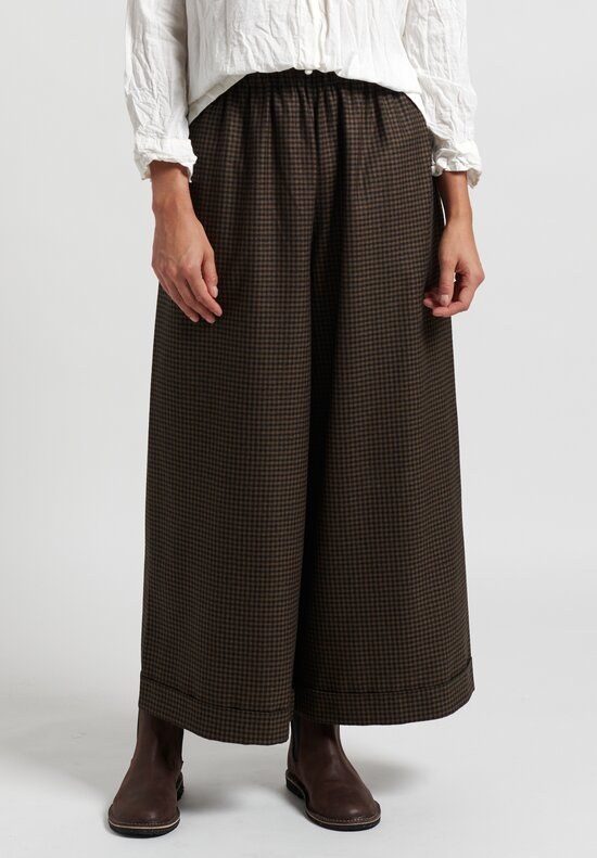 Daniela Gregis Wool Pajama Pocket Pants in Smoke/Checkers