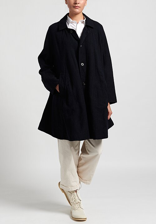 Kaval Silk Dohchu Coat in Navy