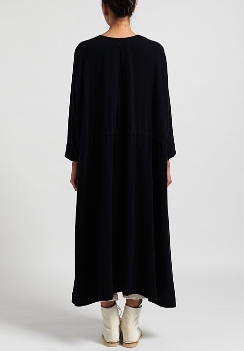 Kaval Wool/Cashmere Long Drawstring Dress in Navy