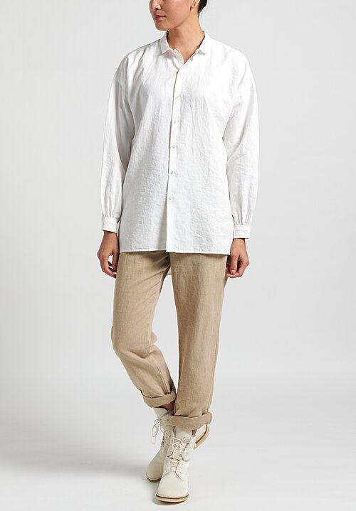 Kaval High Count Linen Open Pullover Shirt