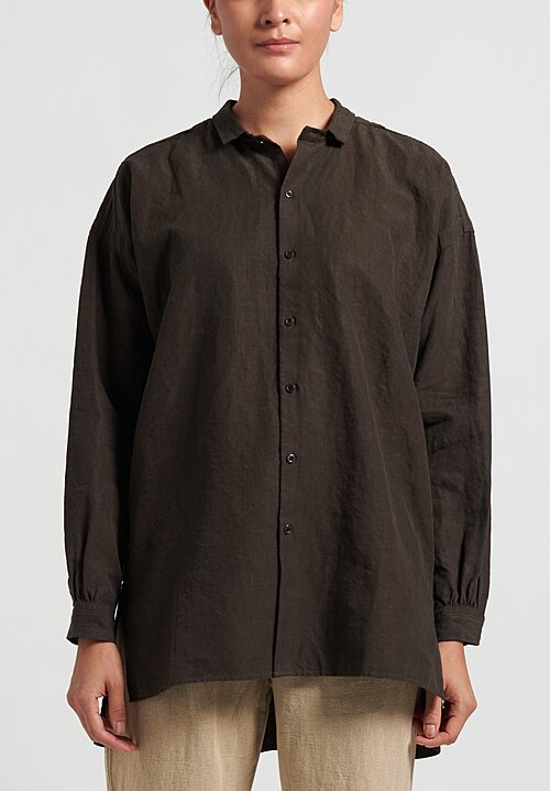 Kaval High Count Linen Open Pullover Shirt in Dust
