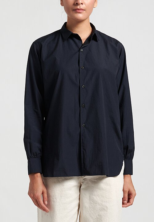 Kaval Cotton Simple Shirt in Navy