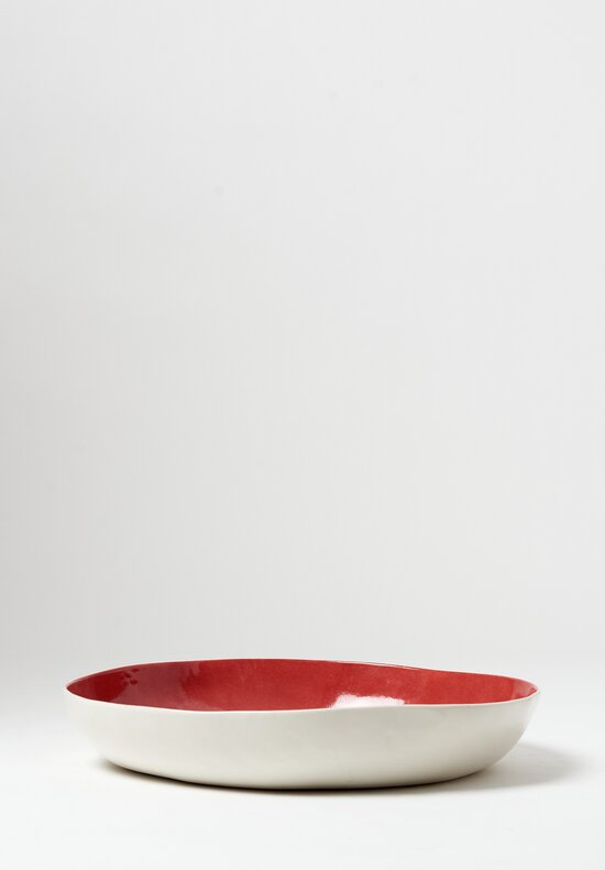 Bertozzi Porcelain Interior Painted Shallow Serving Bowl in Rosso Red