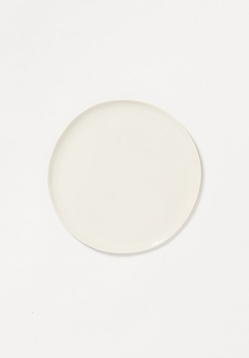 Bertozzi Handmade Porcelain Painted Small Flat Plate in Bianca White