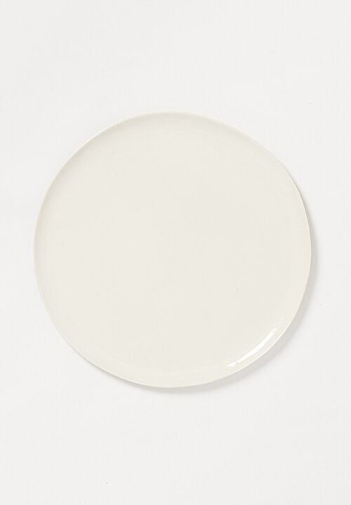 Bertozzi Handmade Porcelain Solid Painted Large Dinner Plate Bianca White