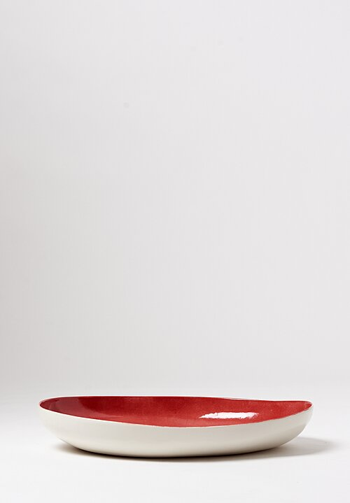 Bertozzi Handmade Porcelain Interior Shallow Oval Platter in Rosso Red