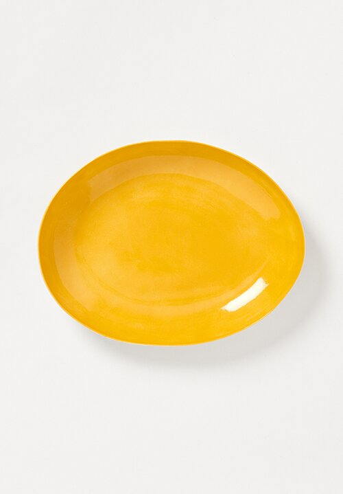 Bertozzi Handmade Porcelain Interior Shallow Oval Platter in Giallo Yellow