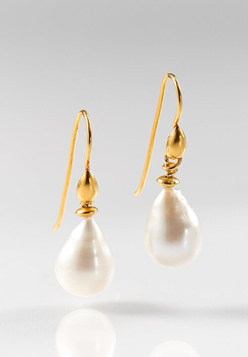 Greig Porter 18K Single Drop Pearl Earrings