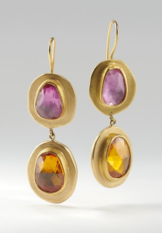 Heike Grebenstein 22K, Pink & Orange Sapphire Earrings