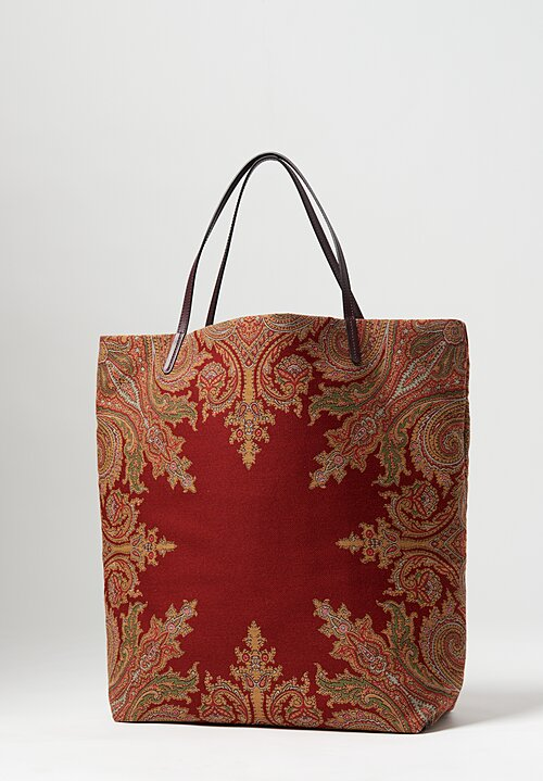 Etro Paisley Reversible Tote Red