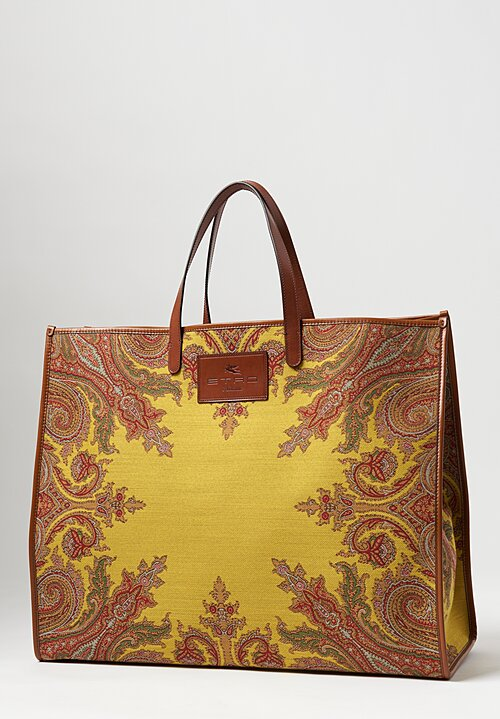 Etro Paisley Jacquard Shopping Bag ll Yellow