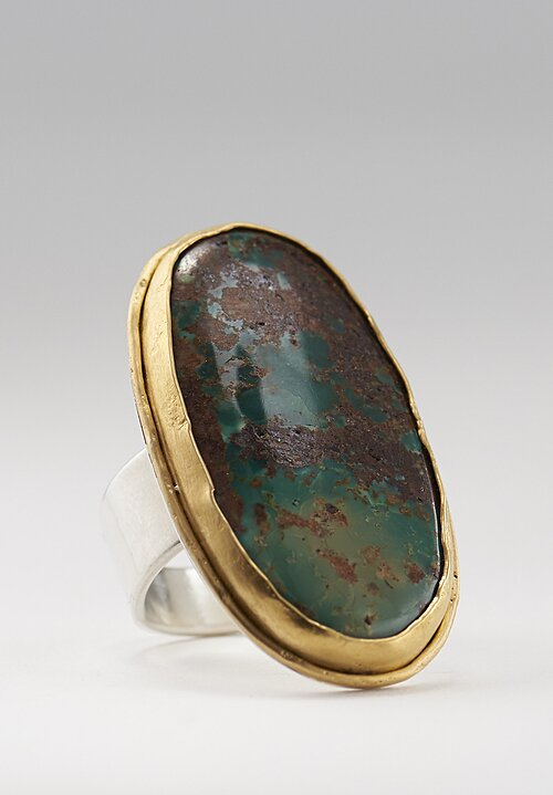 Greig Porter 22K & Sterling, Old Persian Deep Turquoise Ring
