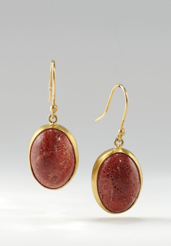 Heike Grebenstein 22K, Medium Cabochon Sponge Coral Earrings