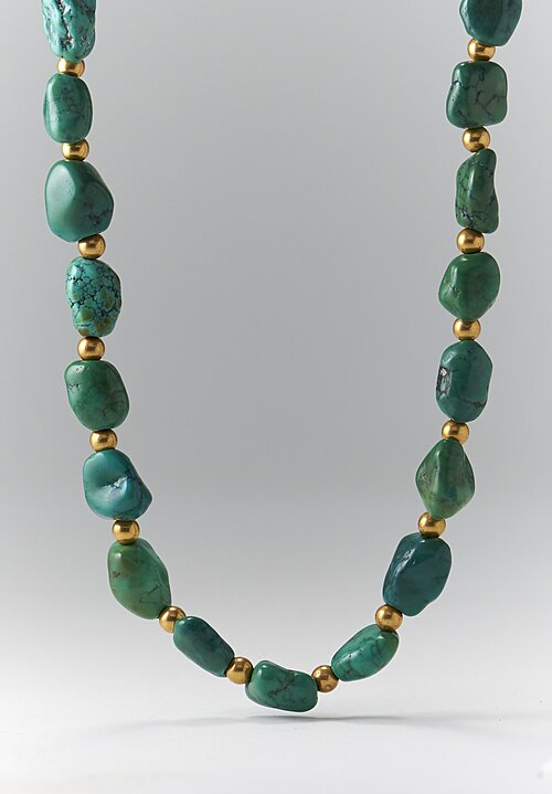 Greig Porter 18K Gold and Tibetan Turquoise Necklace