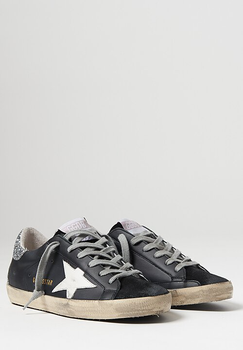 Golden Goose Suede Toe & Sparkling Heel Superstar Sneakers in Black and White