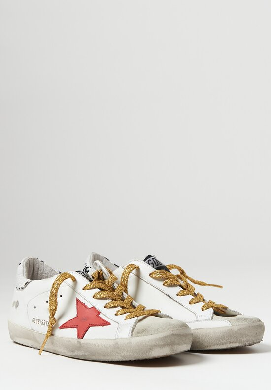 Golden Goose Snake Print Heel Superstar Sneakers