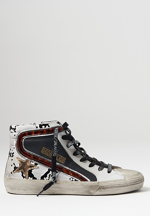 Golden Goose Snake Print Heel Slide Sneaker in Black and Grey
